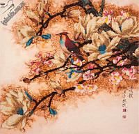 Набор для вышивания бисером FLF-032Птичка на сакуре40*40 Волшебная страна качественный , фото 1