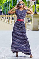 Женское повседневное платье в пол с поясом и карманами без рукавов крепдешин, фото 1