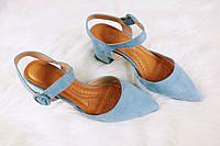 Голубые женские босоножки с закрытым носком