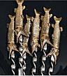 """Набор шампуров для шашлыка """"Царские щуки"""" в колчане из кожи. 6шт, фото 4"""