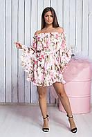 Летнее платье с воланами и цветочным принтом , фото 1