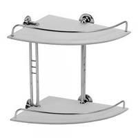Двойная,стеклянная,угловая полочка с ограничителем  хром/стекло, для ванной комнаты 4882 ТМ Arino 28см