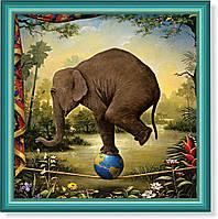 """Репродукция  современной картины """"Дрессированный слон"""" 30 x 30 cm"""