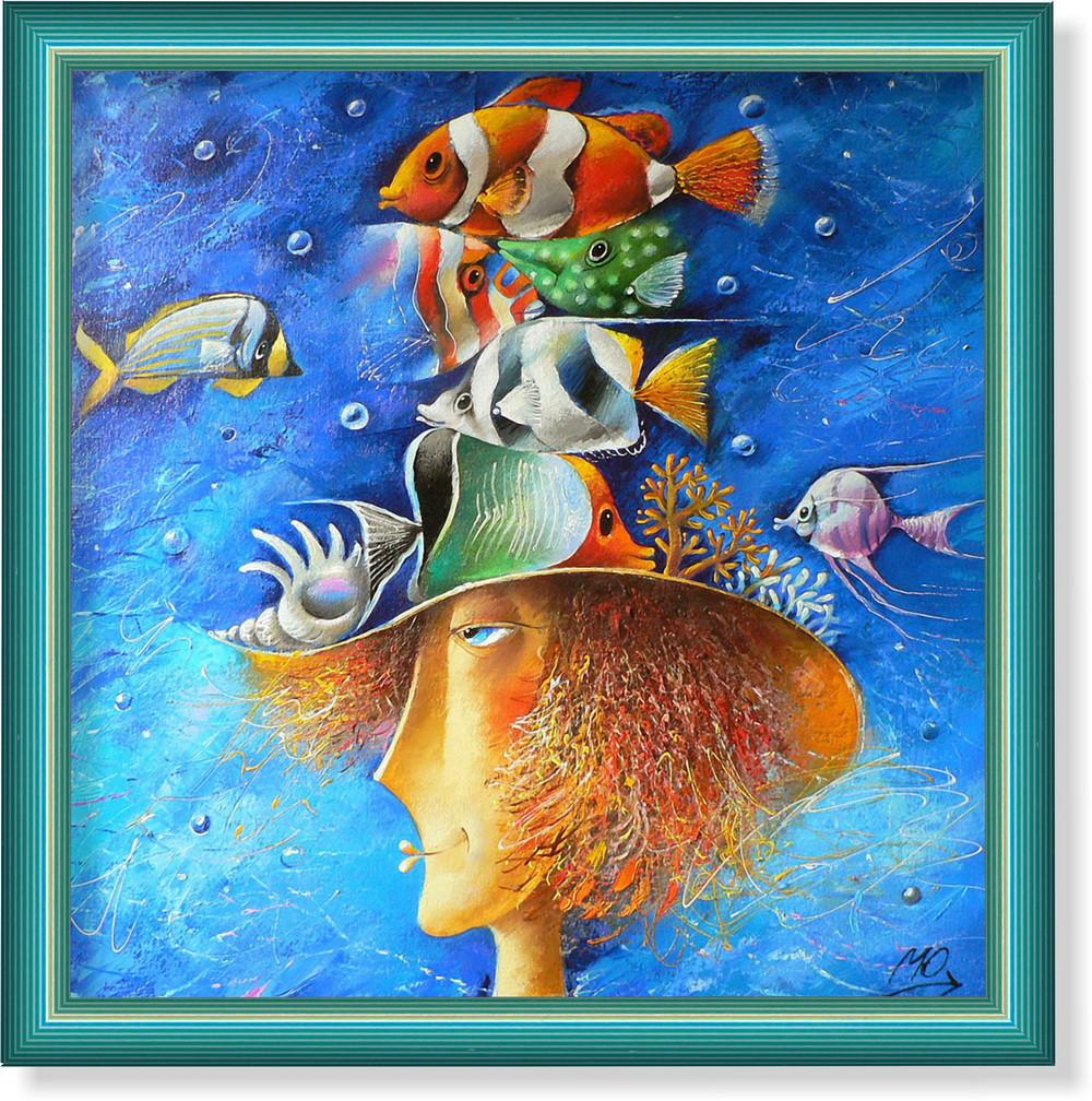 """Репродукция  современной картины """"Вот такая шляпа"""" 30 x 30 cm"""
