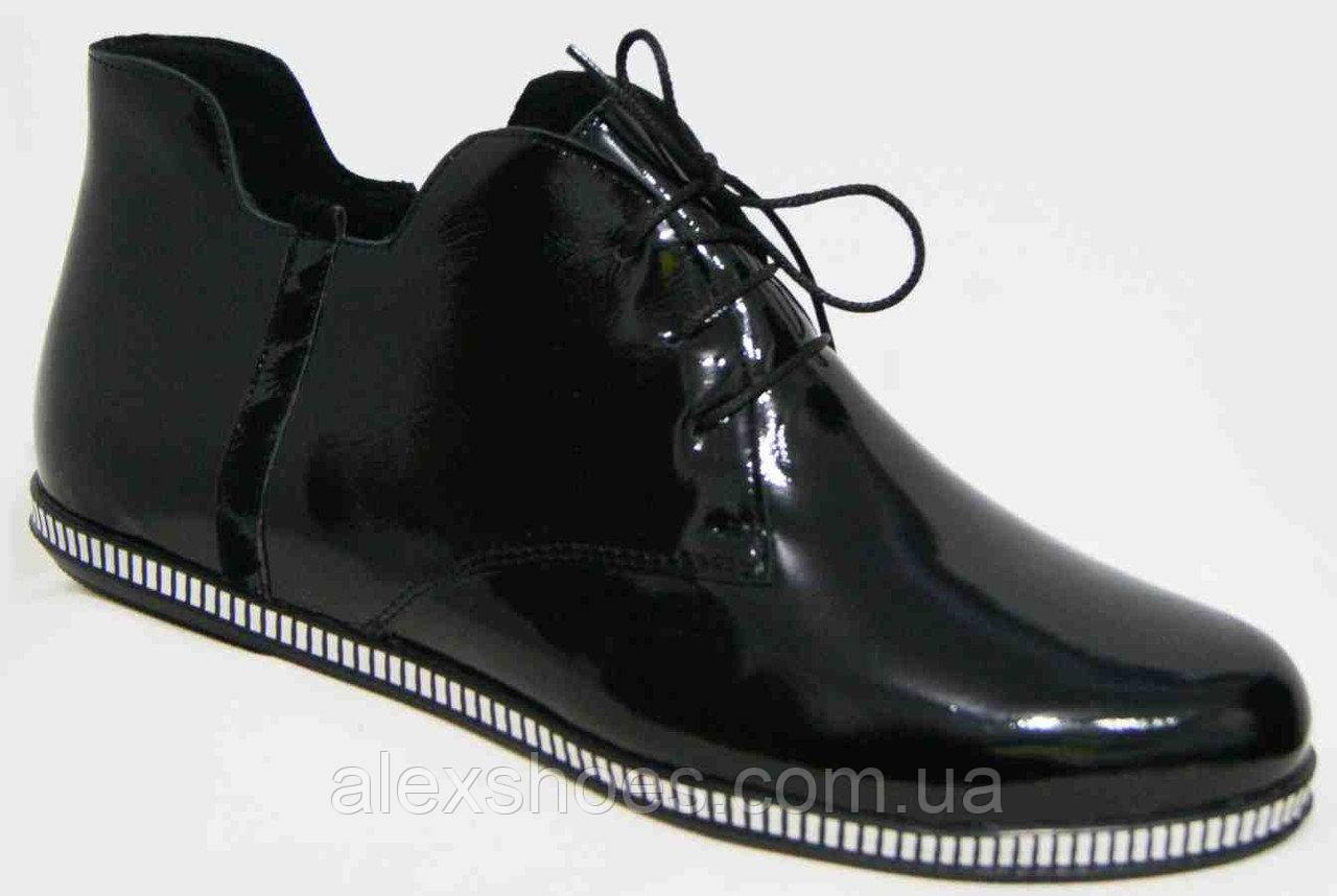 Ботинки демисезонные из натуральной кожи большого размера от производителя модель В5245-4