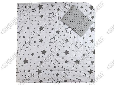 Летний конверт на выписку Звездочки серый с белым, фото 2