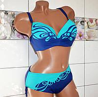 Размер 52-54! Красивый модельный купальник для полных женщин, зелено-синий имитация бабочка.