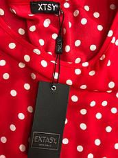 Блуза женская Extasy Италия красная в мелкий белый горох, фото 3