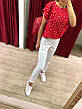 Блуза женская Extasy Италия красная в мелкий белый горох, фото 2