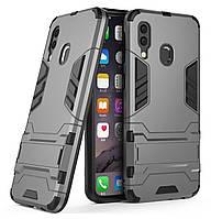 Бронированный противоударный чехол Stand для Samsung Galaxy A40 (2019) SM-A405F Grey