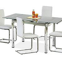 Стол обеденный стеклянный раскладной Halmar Logan 2 серый/хром 96-142x70x75 см