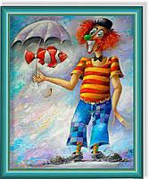 """Репродукция  современной картины """"Клоун и рыбка"""" 30 х 35 см"""