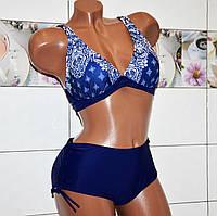 Размер 54! Красивый синий женский раздельный купальник с мягкой чашкой на косточках, лиф с узором в стразах