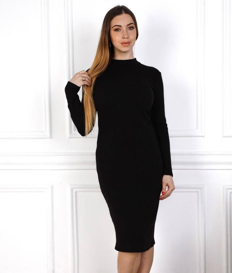 Приталенное черное платье   Размеры: 44 / 46