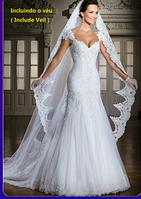 Белоснежное Свадебное платье с фатой. Кружевное., фото 1