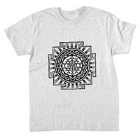 Мужская футболка с рисунком Шри Янтра, светло-серый меланж
