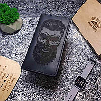 Портмоне мужское кожаное ручной работы Череп Barber