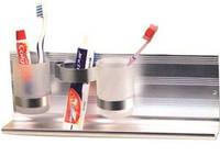 Алюминиевая, подвесная, полочка с двумя стаканчиками и подставкой под зубную пасту ТМ Arino 7247 для ванной ко