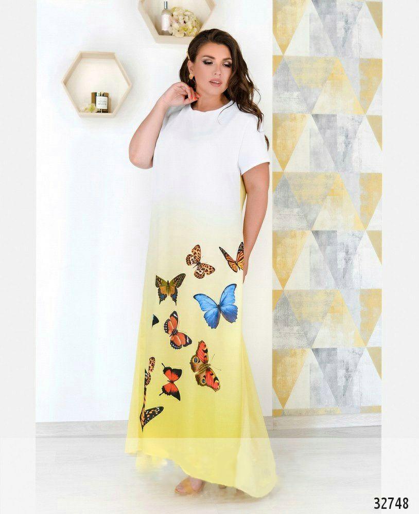 Длинное платье летнее с рукавом белое с синим размеры от 50 до 62