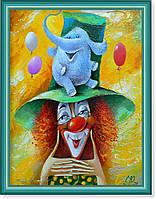 """Репродукция  современной картины """"Голубой слоник"""" 30 х 40 см"""