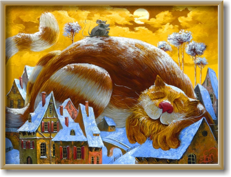 """Репродукція сучасної картини """"Ах, який класний сон!"""" 30 х 40 см"""