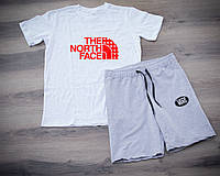 Мужской летний спортивный костюм, спортивний костюм The North Face (красный лого), Реплика (комби)