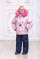 Зимний комплект куртка-полукомбинезондля девочки с нежными розами, 92-110