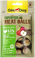 514802 GimDog Superfood Meat Balls Лакомство с курицей, яблоками и киноа, 70 гр