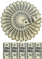 """Вафельная картинка круглая для торта, десертов """"Доллары"""", (лист А4, толщина 0.3 мм)"""