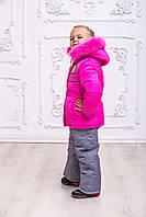 Малиновый зимний комбинезон для девочки, 92-110