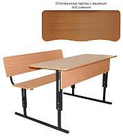 Парта школьная с лавкой, Духместная, Регулируемая (С вырезом под ученика+Полочка)