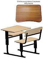 Парта школьная с лавкой, Одноместная, Регулируемая (С вырезом под ученика+Полочка)