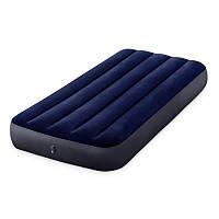 Надувной велюровый матрас Intex 64757, 99х191х25 см, синий