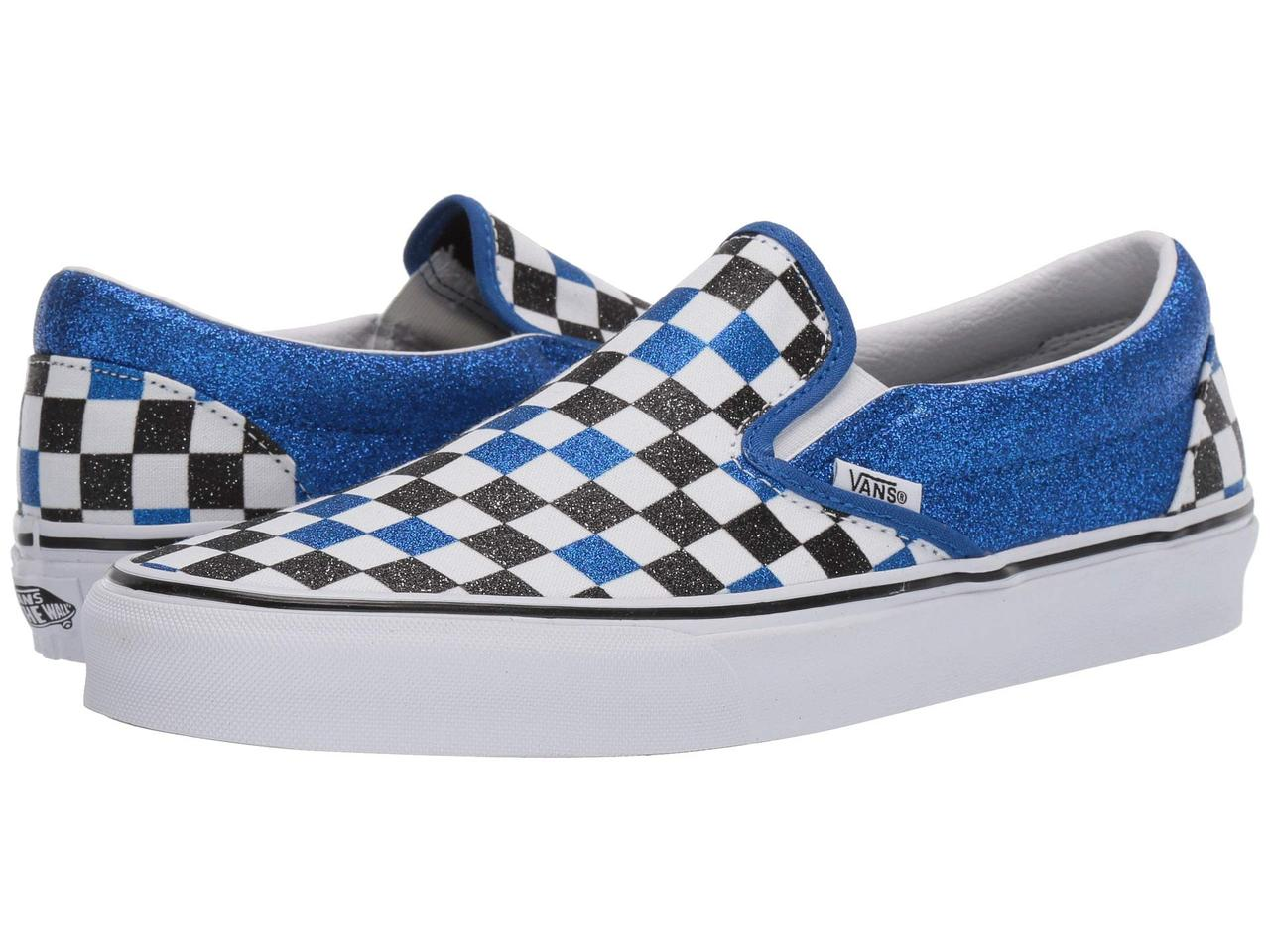 informatie vrijgeven op gedetailleerde foto's top mode Кроссовки/Кеды (Оригинал) Vans Classic Slip-On (Glitter Checkerboard)  Princess Blue/True White