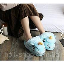 Домашние тапочки Единорог голубые., фото 2