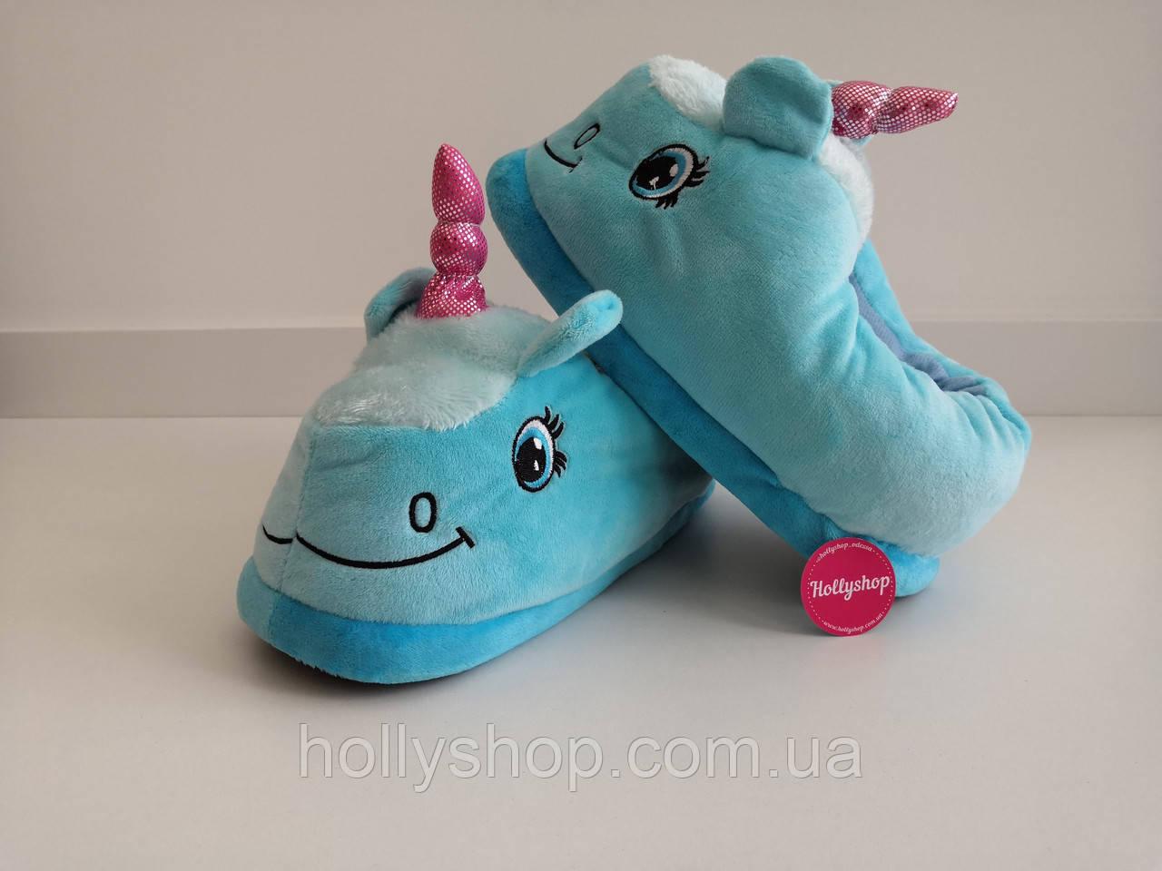 Домашние тапочки Единорог голубые с задником.