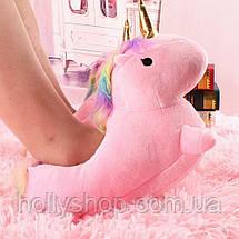 Домашние тапочки Единорог с лапками розовые, фото 2