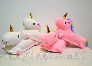 Домашние тапочки Единорог с лапками розовые, фото 3