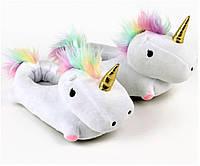 Домашние тапочки Единорог с лапками белые
