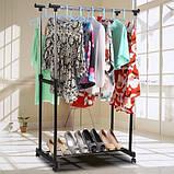 Вішалка для одягу Double Pole підлогова на коліщатках - регулювання висоти, фото 2