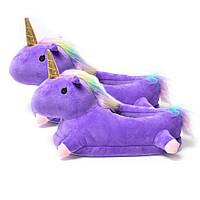Домашние тапочки Единорог с лапками фиолетовые