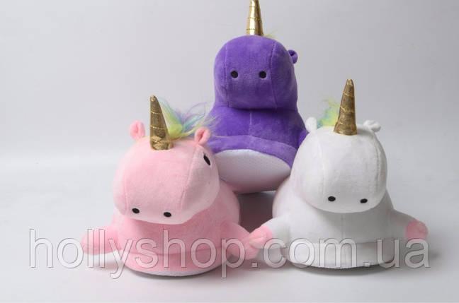 Домашні тапочки Єдиноріг з лапками фіолетові, фото 2