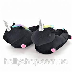 Домашние тапочки Единорог с лапками черные