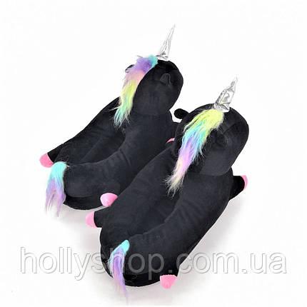 Домашние тапочки Единорог с лапками черные, фото 2
