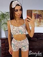 Пижама женская красивый топ , короткие шорты и повязка на глаза для сна KXs12