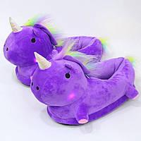 Домашние светящиеся тапочки единороги фиолетовые
