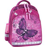 Рюкзак школьный ортопедический Bagland Mouse для девочек бабочка малиновый