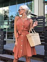 Женское платье лен тонкий Цвета разные С, М, Л хаки, фото 1