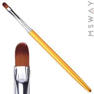 Кисть для геля KATTi 51 284 золотые метал. ручки плоская купольная 4х7мм, фото 2
