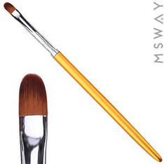 Кисть для геля KATTi 51 283 золотые метал. ручки плоская купольная 6х7мм